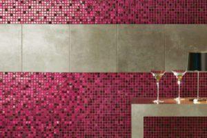 Glas mosaik på køkken væggen