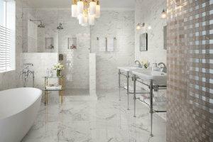 Badeværelsesfliser i syrefast marmor-look