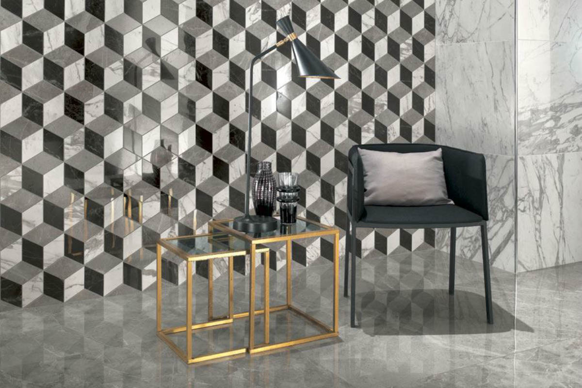 Vægbeklædning til stuen i cube mosaik